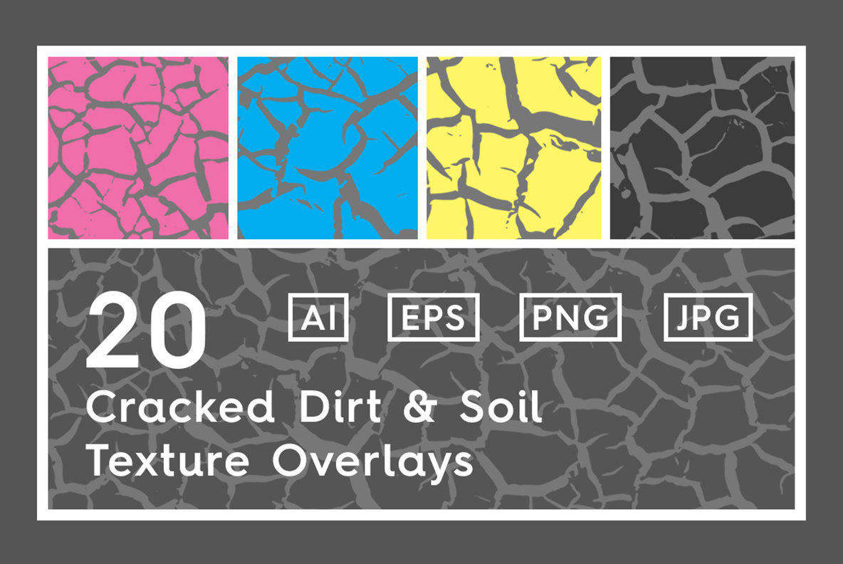 20 Cracked Dirt Texture Overlays
