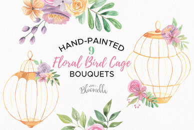 Floral Bird Cage Watercolor Package