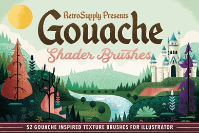 Gouache Shader Brushes for Adobe Illustrator