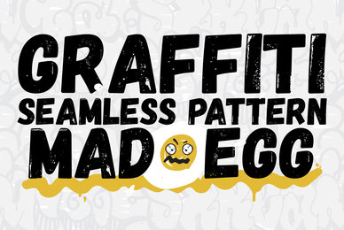 Graffiti Seamless Patterns Set Mad Egg