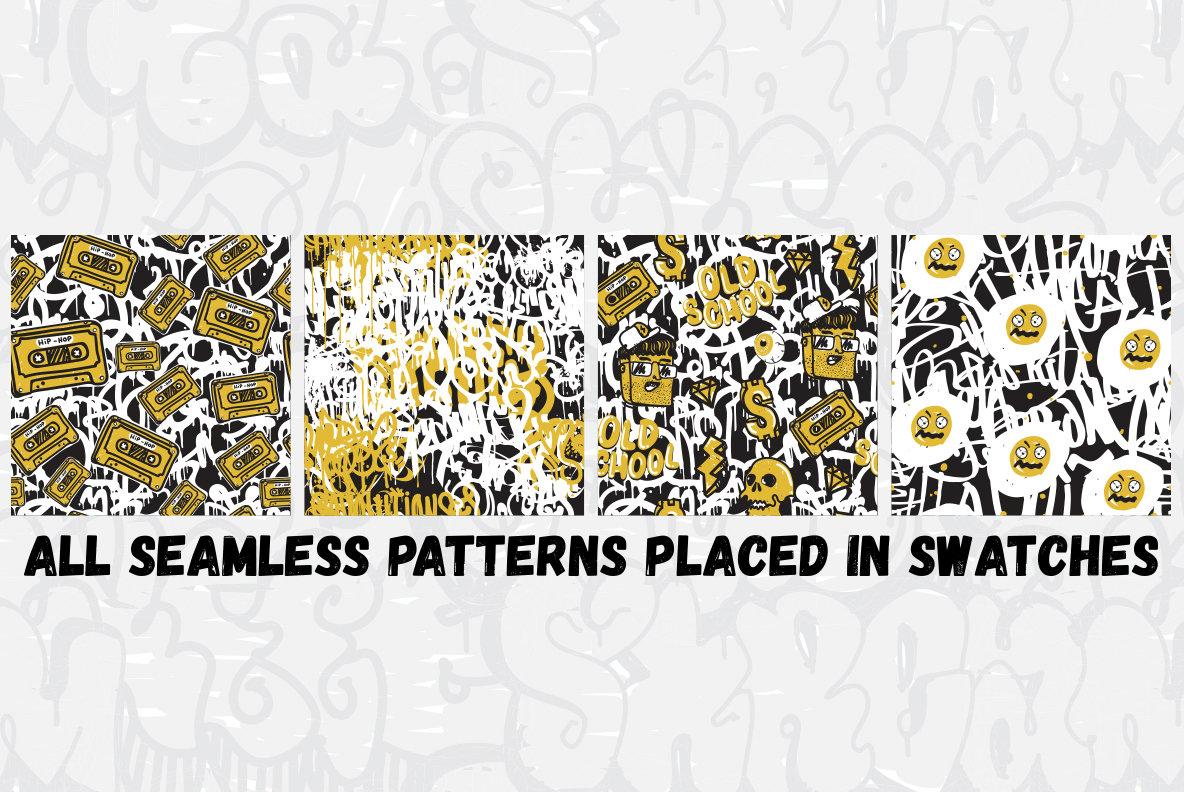 Graffiti Seamless Patterns Set Mad Egg