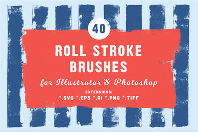 40 Roll Stroke Brushes for Illustrator  Photoshop