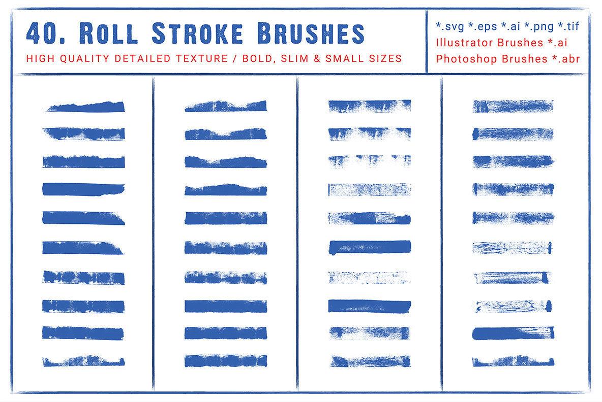 40 Roll Stroke Brushes for Illustrator   Photoshop