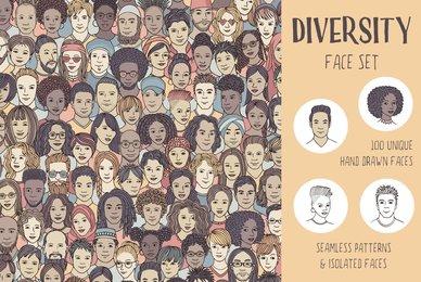 Diversity Face Set   100 Hand Drawn Faces