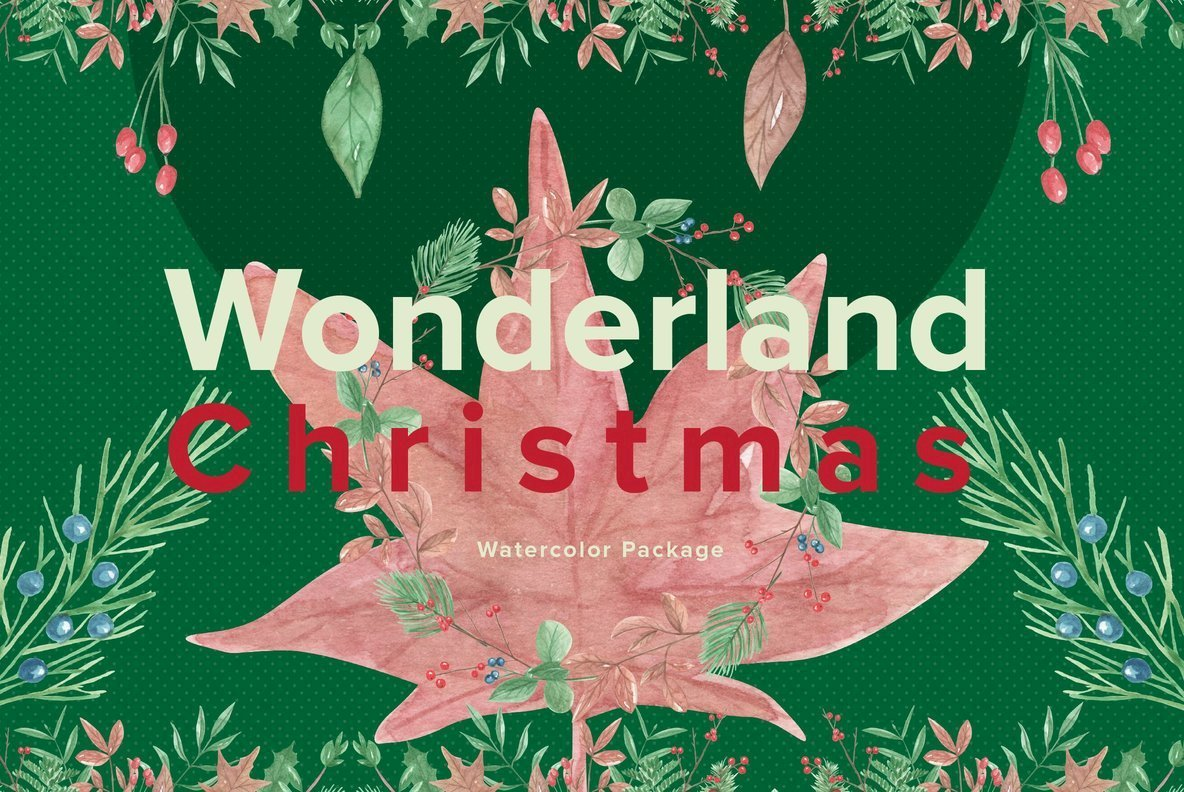 Wonderland Christmas Watercolor Package