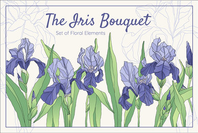 The Iris Bouquet Set of Floral Elements