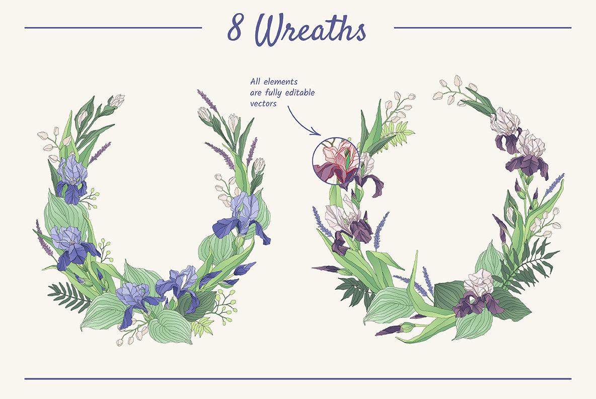 The Iris Bouquet Set of Floral Elements