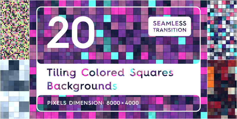 20 Tiling Colored Square Backgrounds