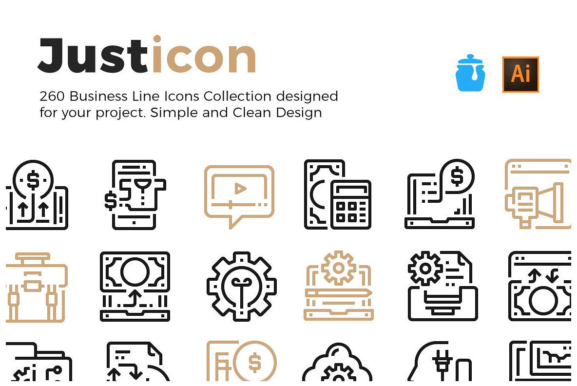 260 Business Line Icons Collection