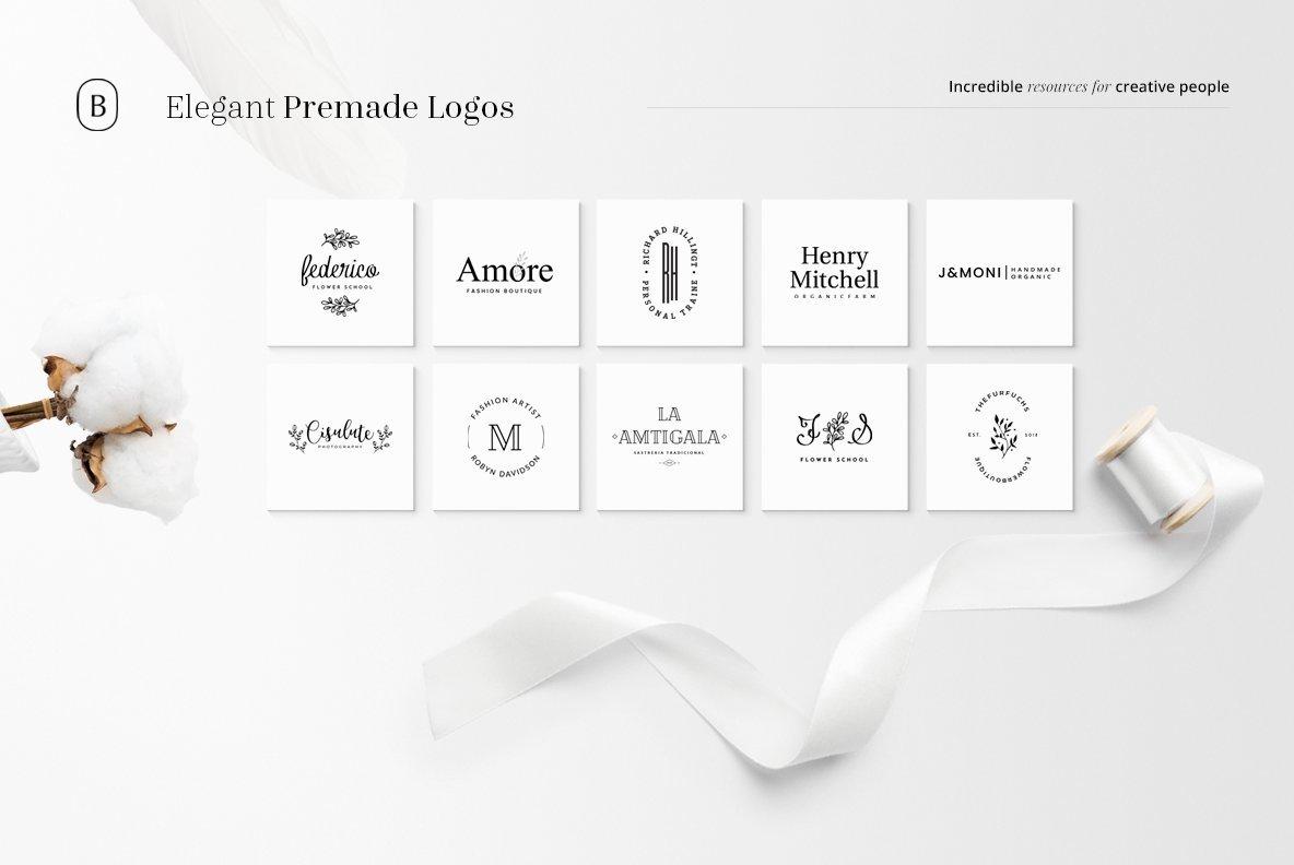 130 Elegant Premade Logos Bundle