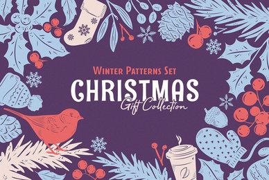 Christmas Gift   Vector Patterns Set