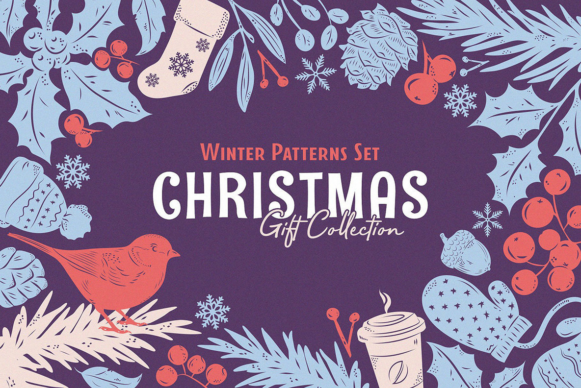 Christmas Gift   Vector Patterns Set