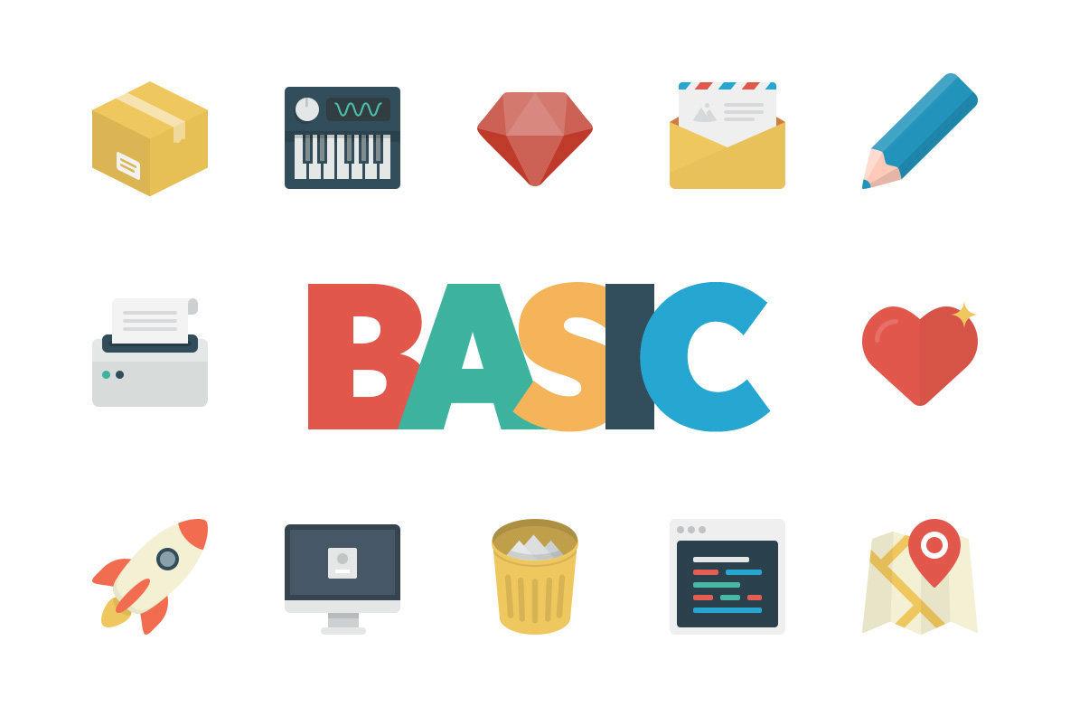 Basic Flat Icon Set