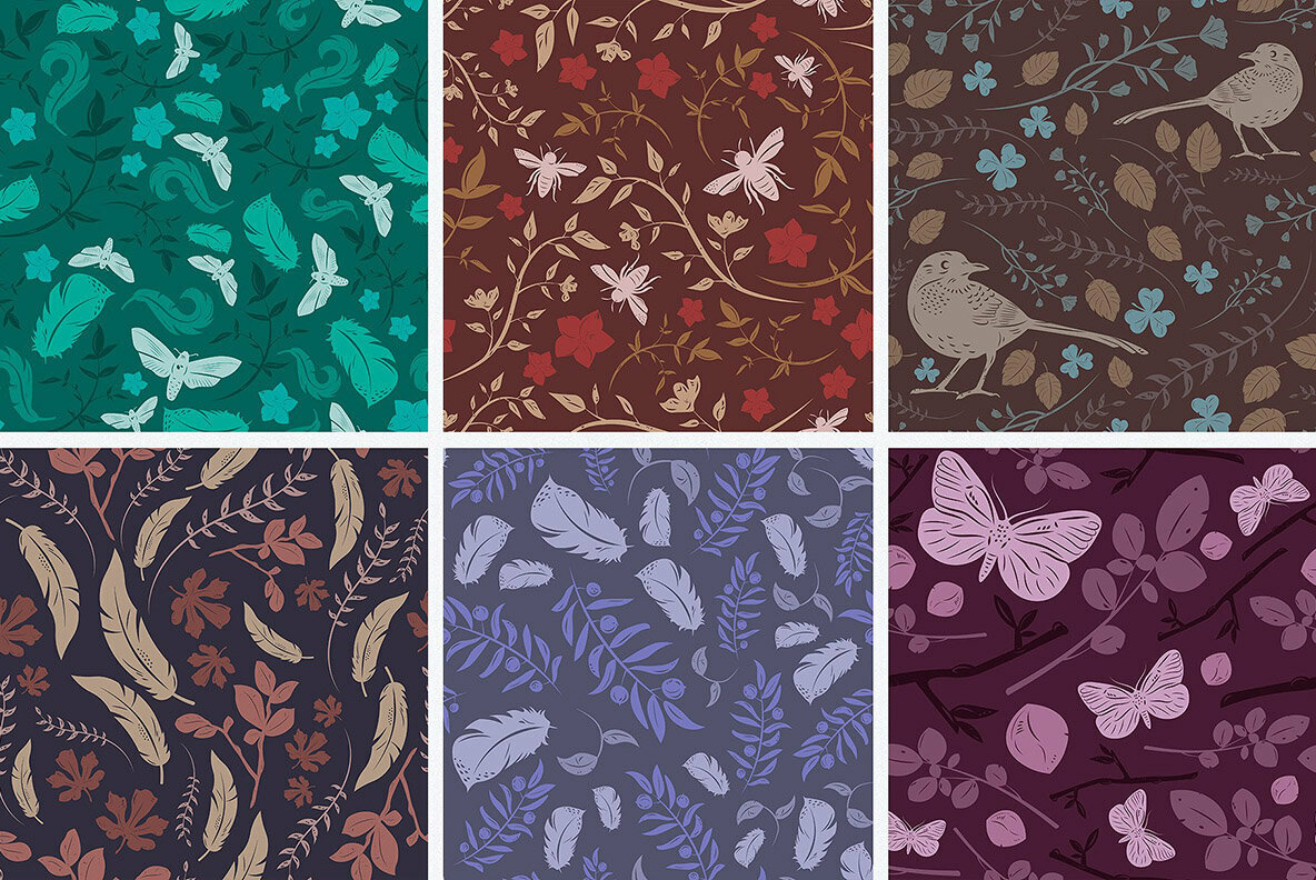 Birds   Blooms Seamless Patterns