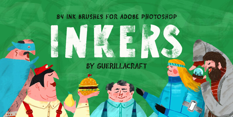 Inkers - 84 Ink Brushes for Adobe Photoshop