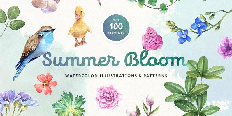 Summer Bloom Watercolor Set