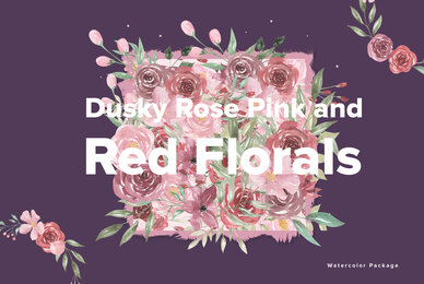 Dusky Pink Rose  Red Florals Watercolor Package