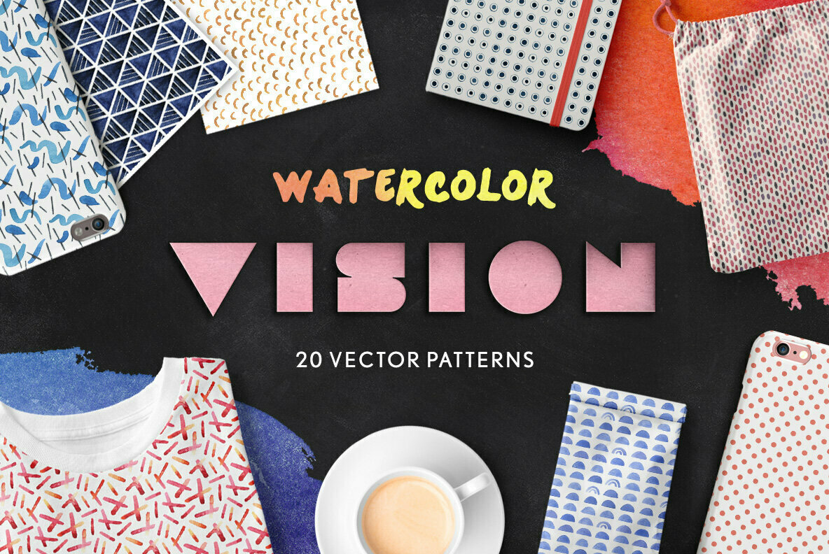 Vision   Seamless Watercolor Patterns