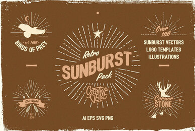 Vintage Glory     Sunburst Vector Set