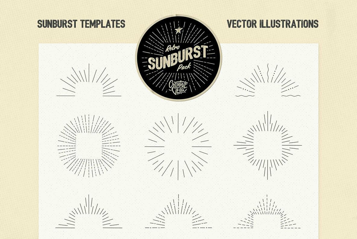 Vintage Glory     Sunburst Vector Set