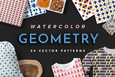 Geometry Watercolor Vector Patterns