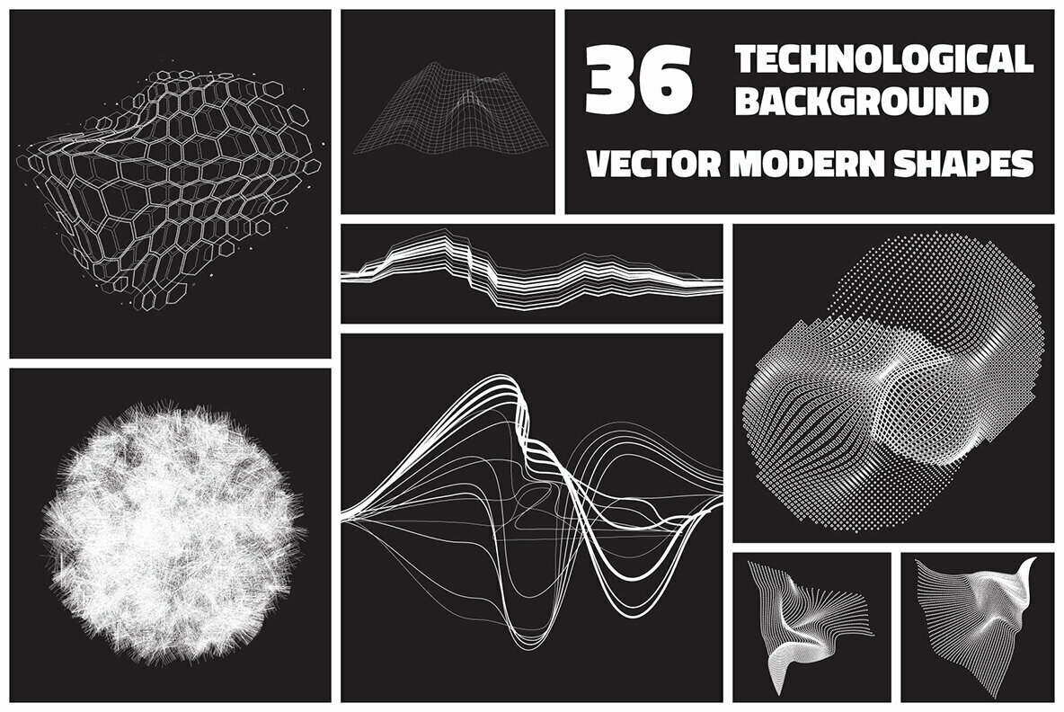 36 Technological Vector Shapes