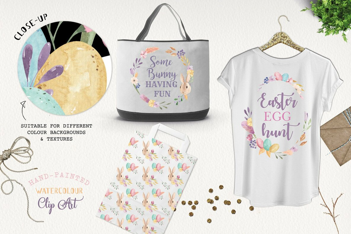 Easter Bunny Egg Watercolor Package