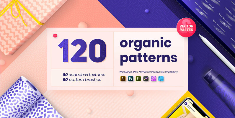 Organic Patterns     50 Trendy Seamless Textures