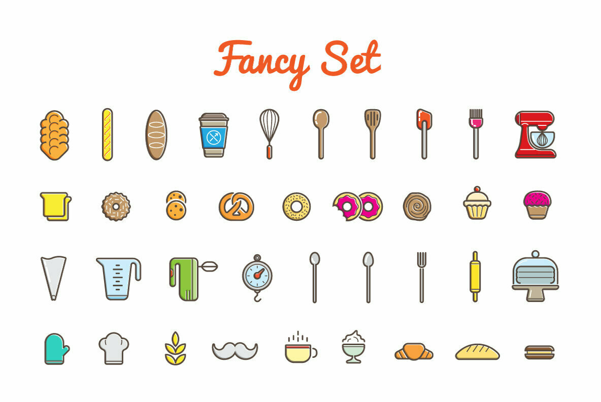 Awesome Bakery Icons and Signs Set