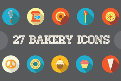 Awesome 27 Bakery Flat Icons in Vector