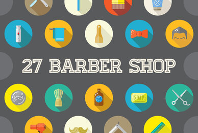 Awesome 27 Barber Shop Flat Icons in Vector