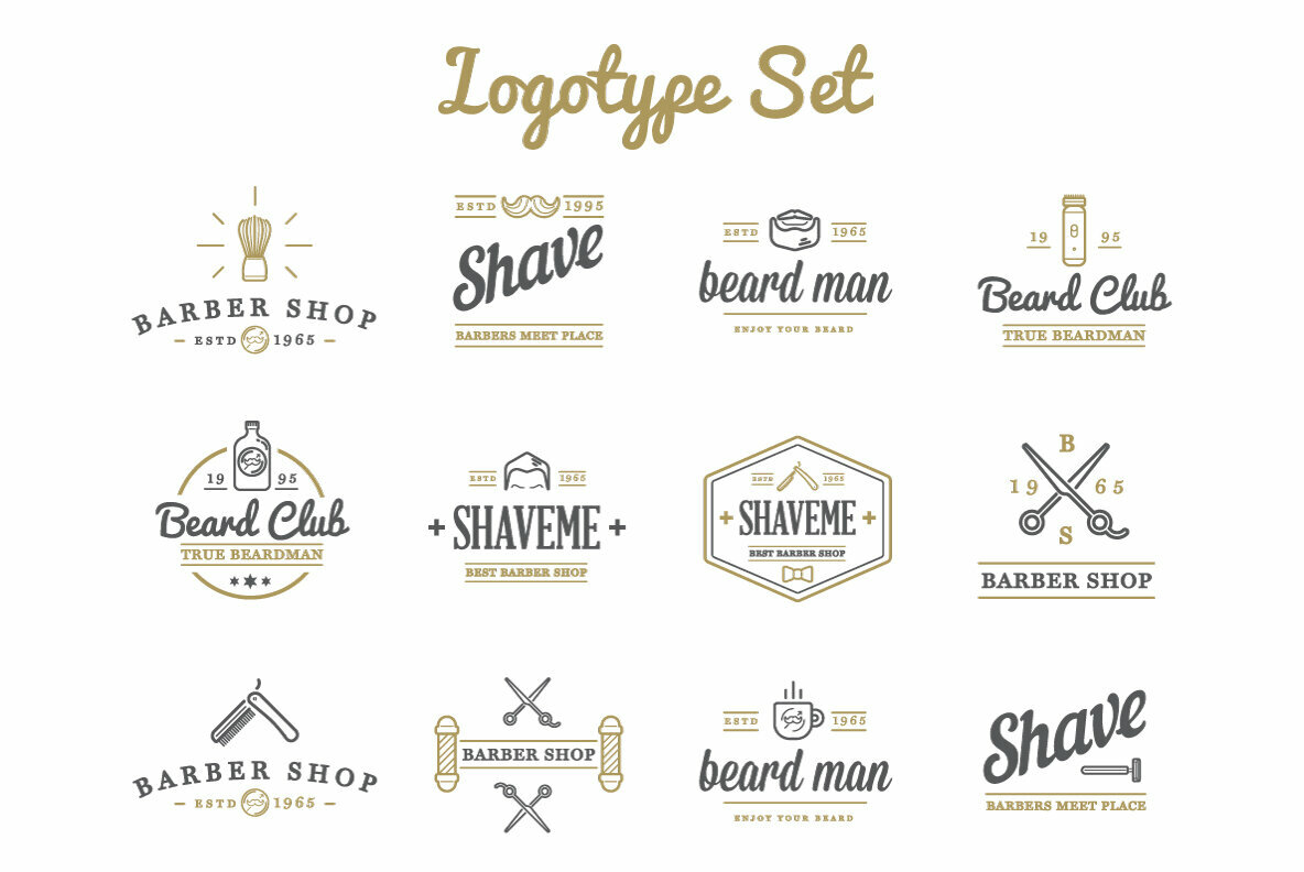 Awesome Barber Shop Icons and Signs Set