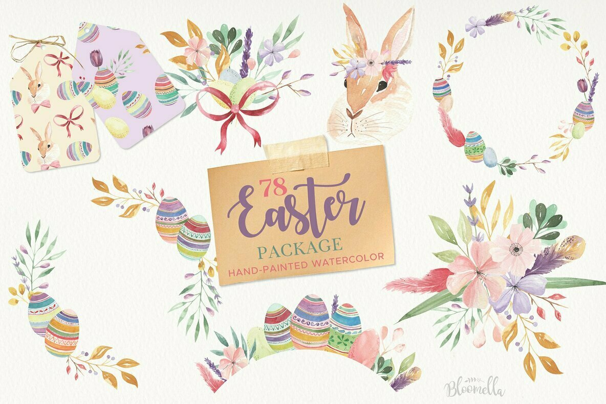 Easter Eggs Flowers and Spring Floral Clipart Package