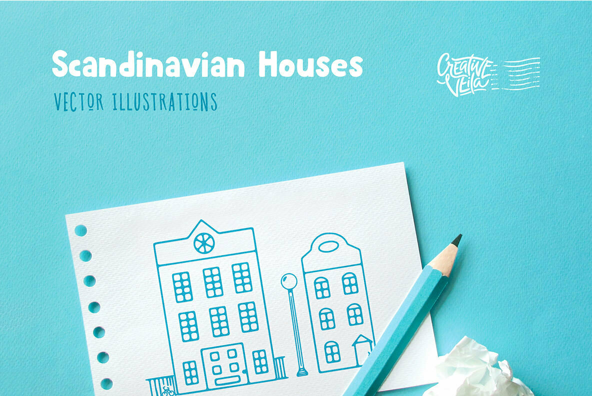 Scandinavian Houses Vector Images