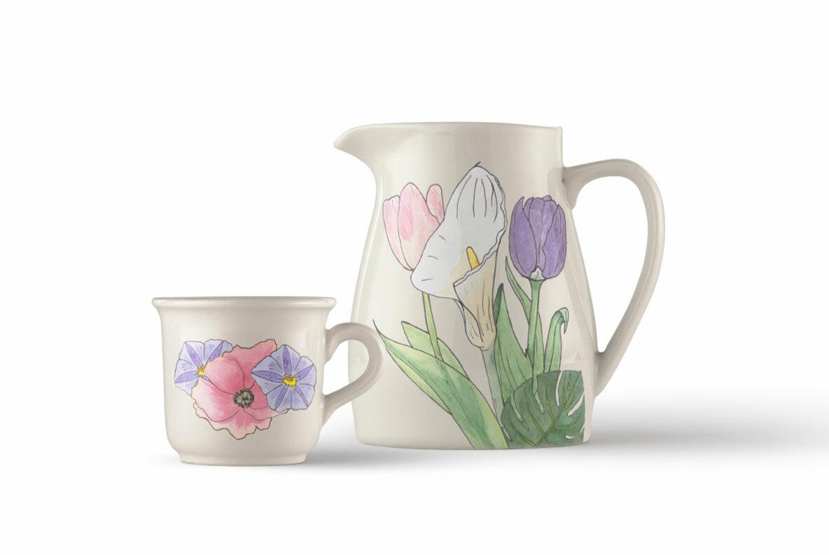 Florart Watercolor Vector Set