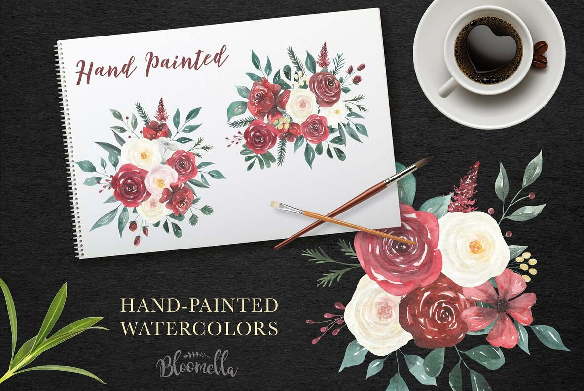 Claret and Cream Flowers Watercolor Package