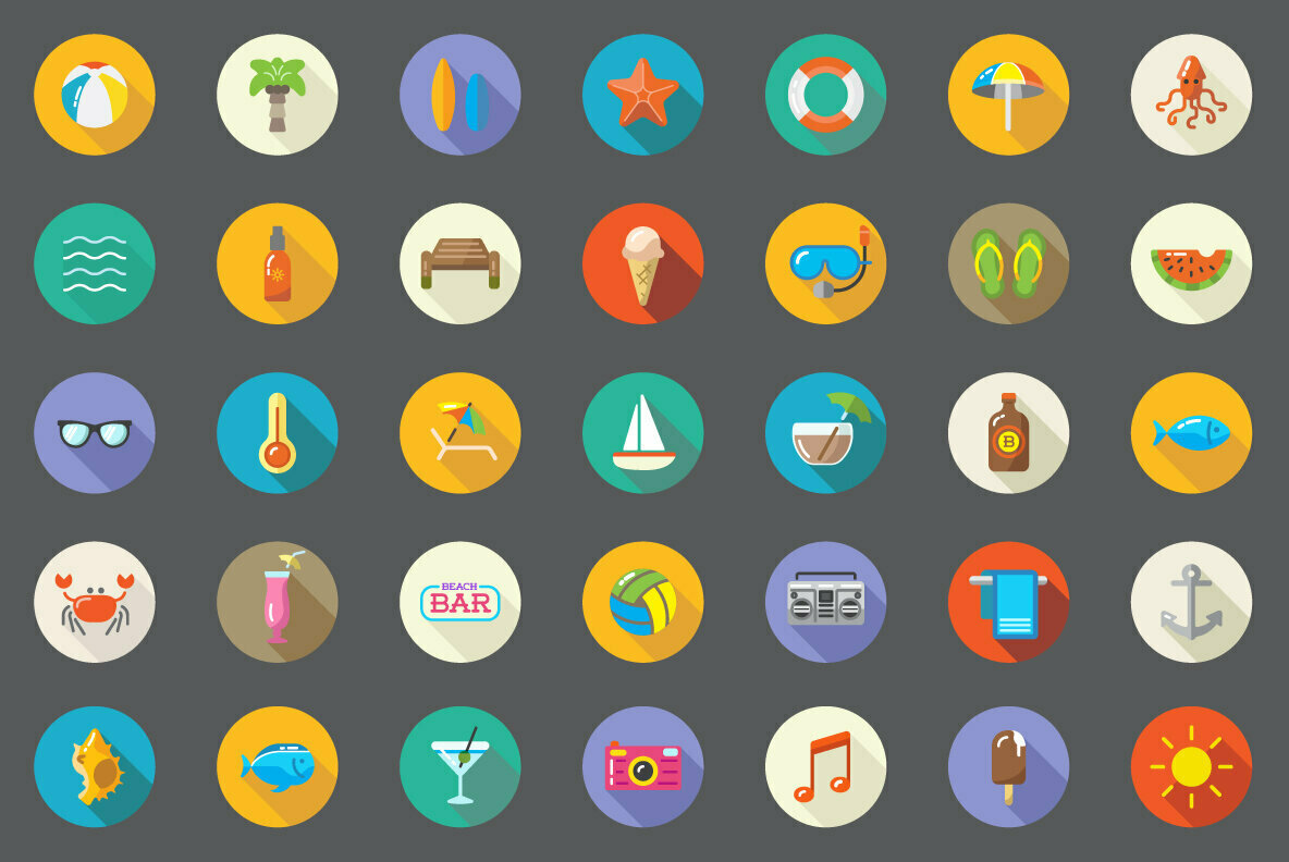 Awesome 35 Beach Flat Icons in Vector