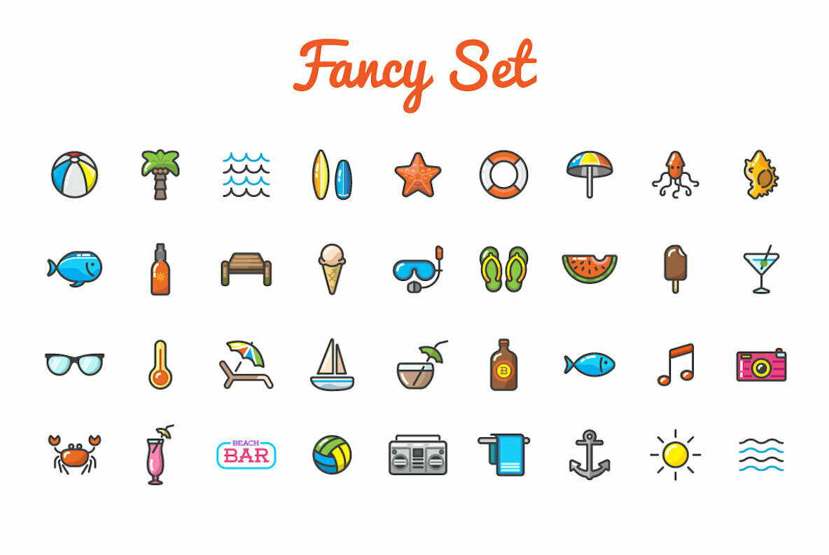 Awesome Summer Beach Icons and Signs Set