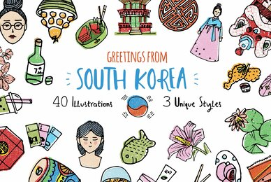 South Korea Illustration Set