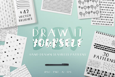 DIY Hand Drawn Seamless Patterns