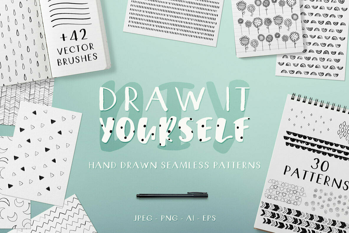 DIY Hand Drawn Seamless Patterns