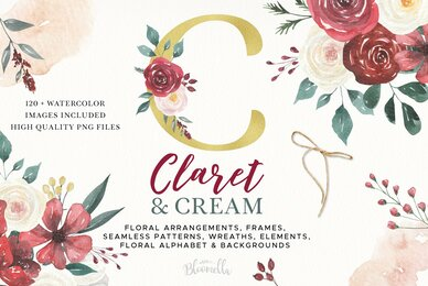 Claret  Cream Flower Watercolor Package