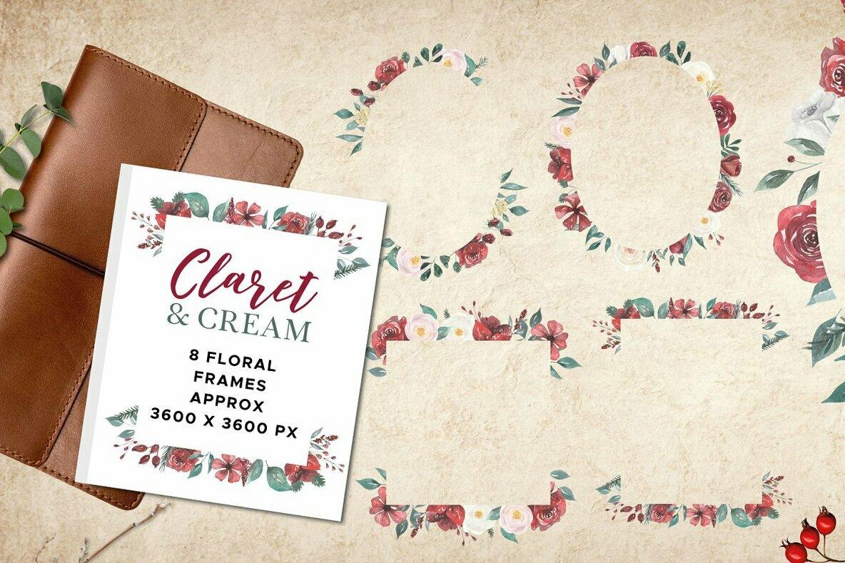 Claret   Cream Flower Watercolor Package