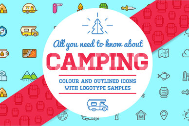 Awesome Outdoor Camping Shop Icons and Signs Set