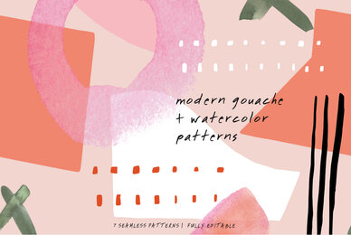 Modern Gouache and Watercolor Patterns
