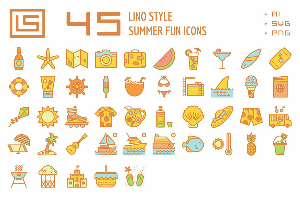 45 Summer Fun Icons