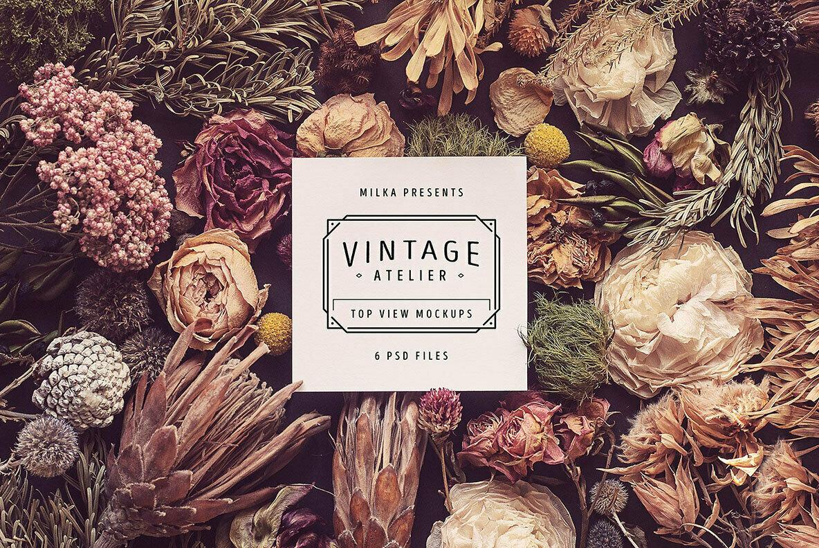 Vintage Atelier Top View Mockups