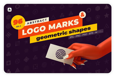96 Abstract Logo Marks  Geometric Shapes Collection