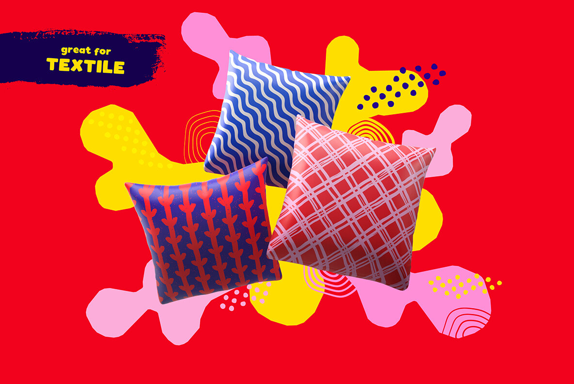 100 Hand drawn Seamless Patterns and Shapes