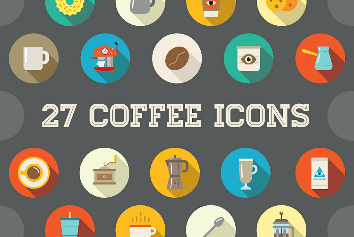 Awesome 27 Flat Vector Coffee Icons